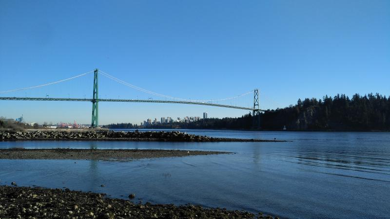 View of Lions Gate bridge from the seawall